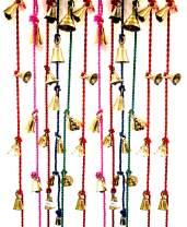 """Shalimar's Showroom String of Brass Hanging Door Bells Assorted Colors Set of 12, 49"""", Asorted"""