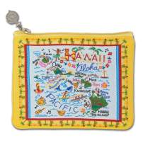 Catstudio Geography Zip Pouch | Use as Wallet, Coin Purse, Travel Case and More! (Hawaii Yellow Pattern)