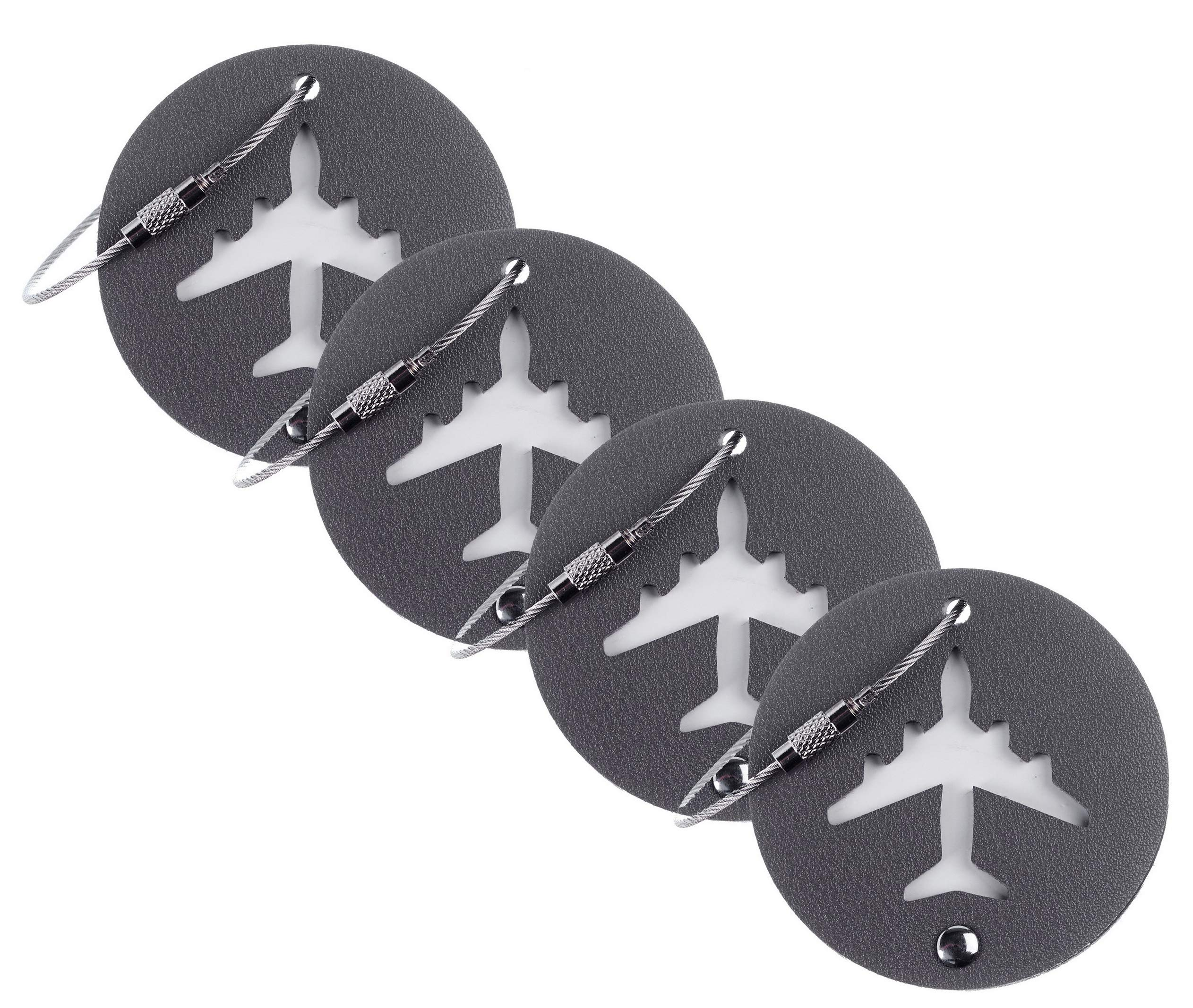 BSWolf Leather Luggage Bag Instrument Tag Cirlce (grey deep 4 pcs set)