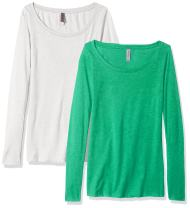 Clementine Apparel 2 Pack Long Sleeve T Shirts Easy Tag Scoop Neck Cotton Stretch Undershirts (6731)