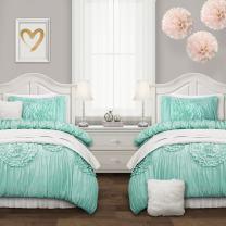 Lush Decor Serena Comforter Aqua Ruched Flower 2 Piece Set, Twin XL