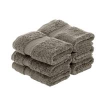 "Superior 900 GSM Luxury Bathroom Face Towels, Made of 100% Premium Long-Staple Combed Cotton, Set of 6 Hotel & Spa Quality Washcloths - Charcoal, 13"" x 13"" each"