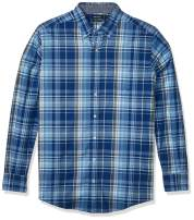 Nautica Men's Big and Tall Long Sleeve Button Down Plaid Poplin Shirt