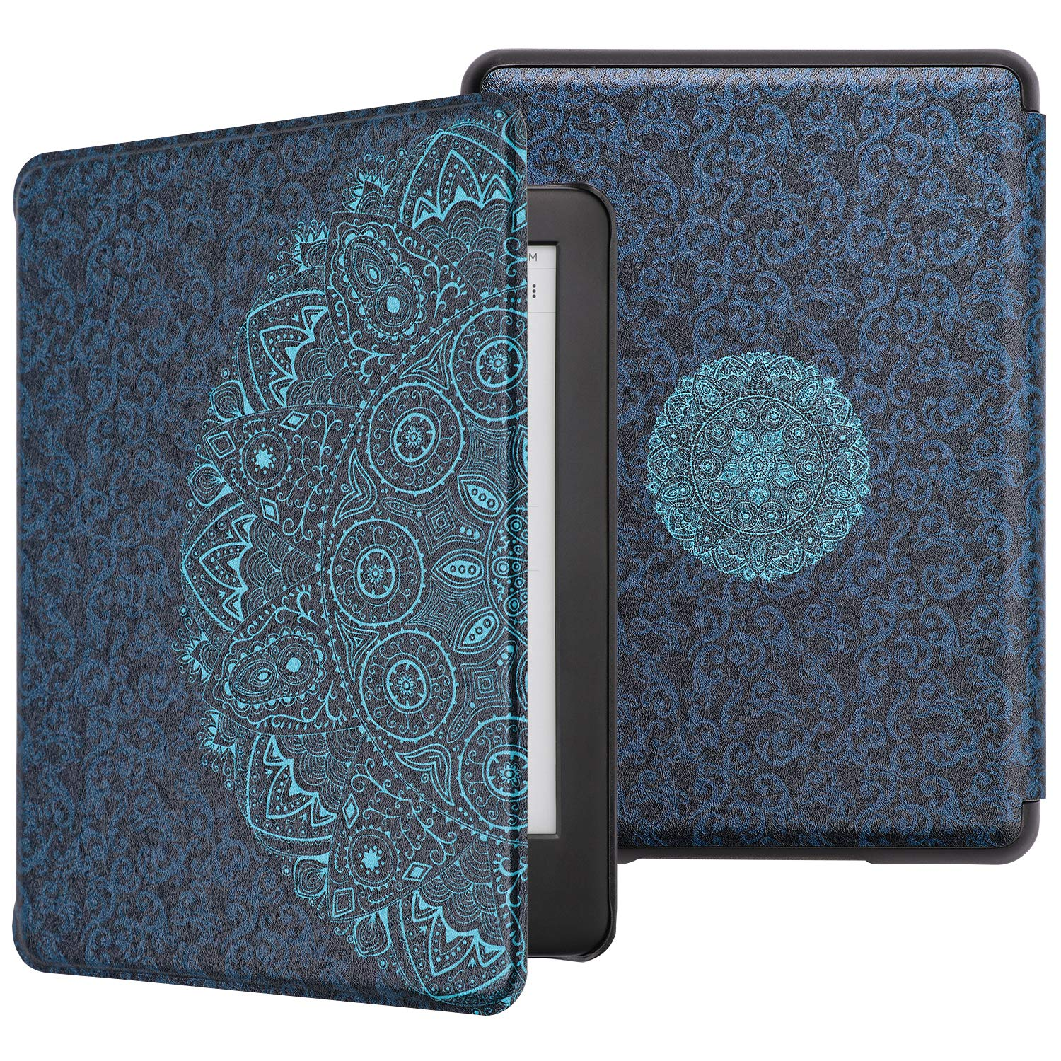 WALNEW All-new Kindle 2019 Cover Case - Slim Lightweight Auto Wake/Sleep Smart Protective Case for New Kindle 10th Generation 2019 Released,Blue Flowers
