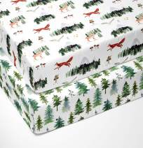 Sorrel + Fern - Crib Sheets for Standard Mattress 2 Pack Premium Fitted Sheets - Buttery Soft Cotton Blend - Watercolor Forest Trees and Mountains - Woodland Animal Pattern