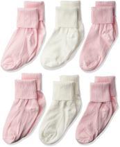 Jefferies Socks Baby Girls' Mercerized Cotton Turn Cuff Socks 6 Pack