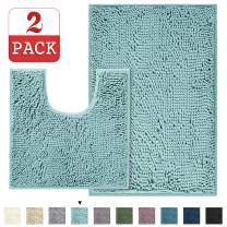 "Super Thick Chenille Bathroom Rug Mat Extra Soft and Absorbent Shaggy Rugs, Machine Washable/Dry Fast Perfect Plush Carpet Mats for Bathroom (20"" x 32""/20"" x 20""U - Duck Egg Shell Blue)"