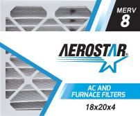 Aerostar 18x20x4 MERV 8, Pleated Air Filter, 18 x 20 x 4, Box of 6, Made in The USA