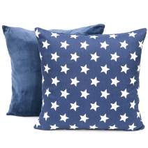 MiniOwls 2pk Accent Throw Pillow Covers - Two Tone Decorative Pillow case for Living Room & Couch 17x17 Navy Blue & Stars