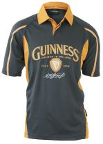 Guinness Signature Performance Rugby Jersey - Grey/Mustard Short Sleeve Polyester Polo Shirt