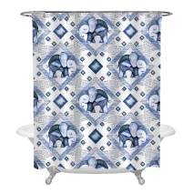 MitoVilla Watercolor Indian Elephant with Blue Tile Shower Curtain Set with Hooks, Ethnic Tribal Art Print Bathroom Accessories for Asian Home Decorations, 72 x 72 inches, Blue
