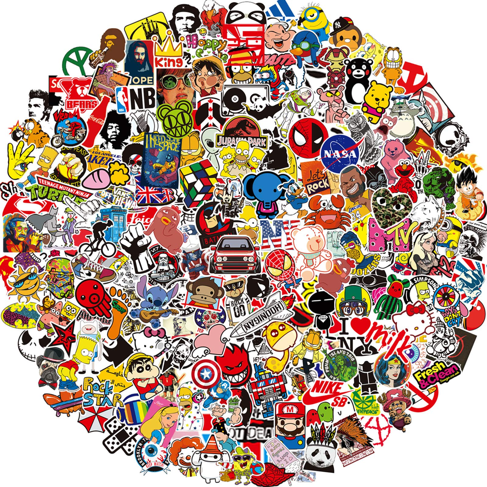 Vinyl Stickers 200 Pack Skateboard Stickers, Anime Stickers for Hydro Flask Laptop Guitar Water Bottle Car Luggage Sticker Waterproof Graffiti Decals, Gift for Kids Teens Adult…