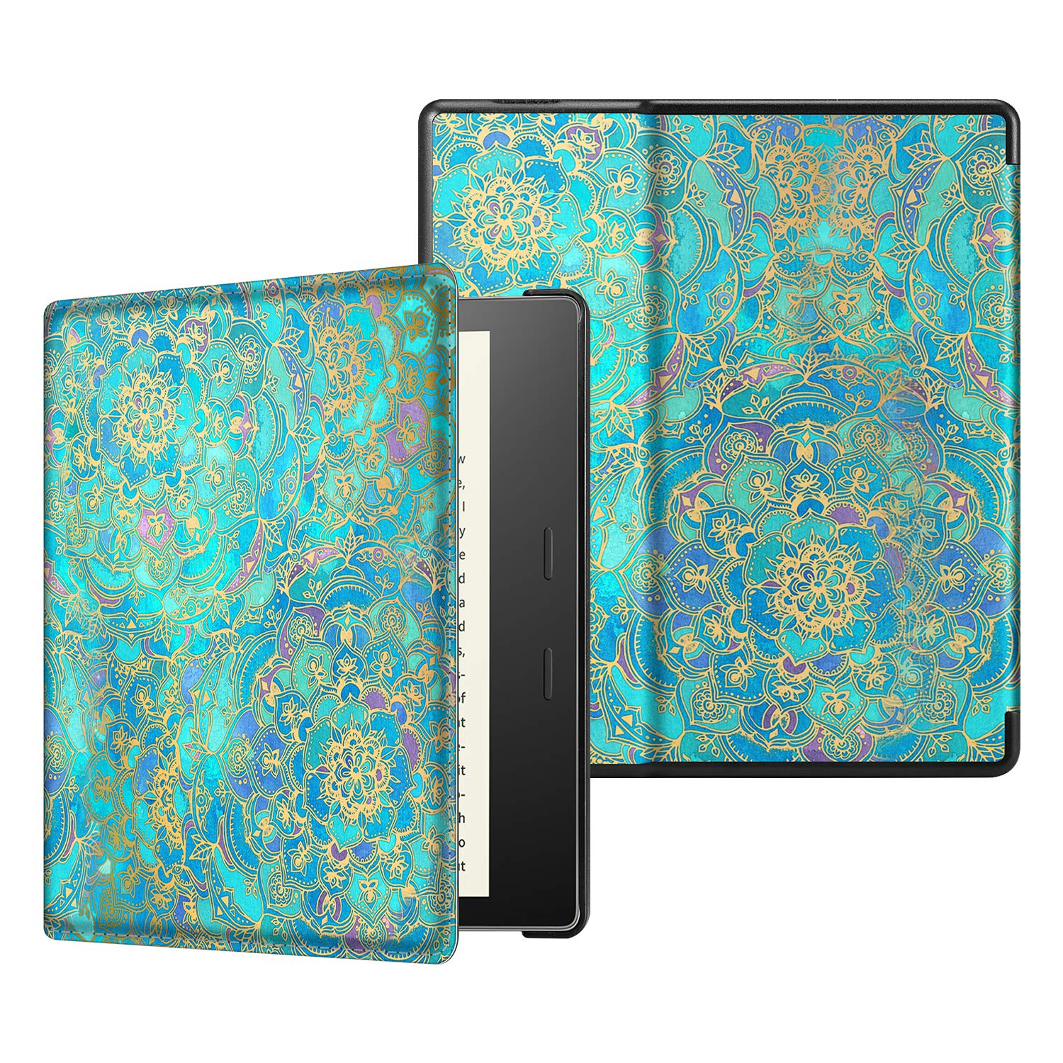 CaseBot Slimshell Case for All-New Kindle Oasis (10th Generation, 2019 Release and 9th Generation, 2017 Release) - Premium PU Leather Lightweight Protective Cover with Auto Wake Sleep, Shades of Blue