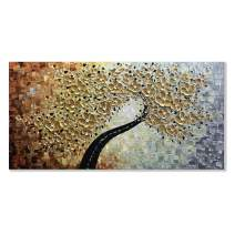 Alenoss Hand-Painted 3D Abstract Tree Oil Painting 24x48 inch Modern Canvas Texture Palette Knife Gold Flowers Paintings Large Wall Art Decor Paintings for Living Room Bedroom Ready to Hang(AL-B36B)