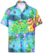 LA LEELA Men's 3D HD Funky Button Down Short Sleeve Hawaiian Shirt