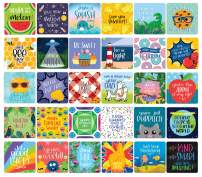 """bloom daily planners Lunch Box Note Card Deck - Cute Sentimental Quote Cards for Kids - Set of Thirty 3"""" x 3"""" Cards - Assorted Designs"""