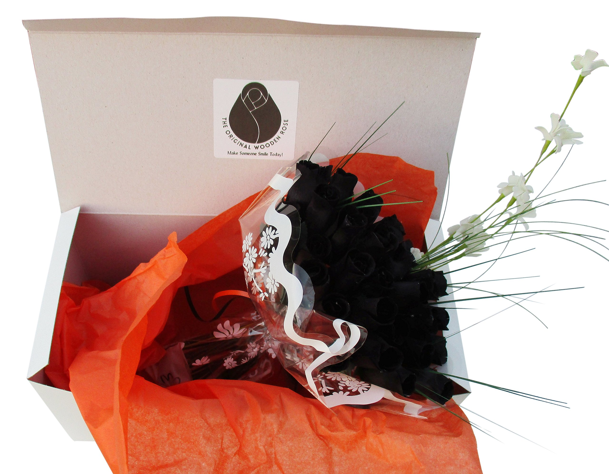 The Original Wooden Rose All Black Gothic Roses Halloween Floral Flower Bouquets in a Gift Box (3 Dozen) …
