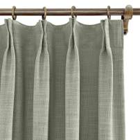 """ChadMade 72"""" W x 84"""" L Polyester Linen Drapes with Thermal Blackout Lining Pinch Pleat Curtain for Sliding Door Patio Door Living Room Bedroom, Grey (1 Panel)"""