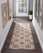 Teddy Cream 2x11 Runner Area Rug for Kitchen, Entryway, Baby, or Nursery Room - Transitional, Floral