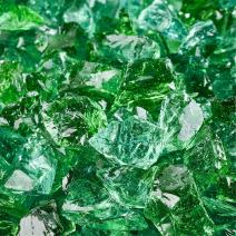 Emerald Green - Crushed Fire Glass for Indoor and Outdoor Fire Pits or Fireplaces | 10 Pounds | 3/8 Inch - 1/2 Inch
