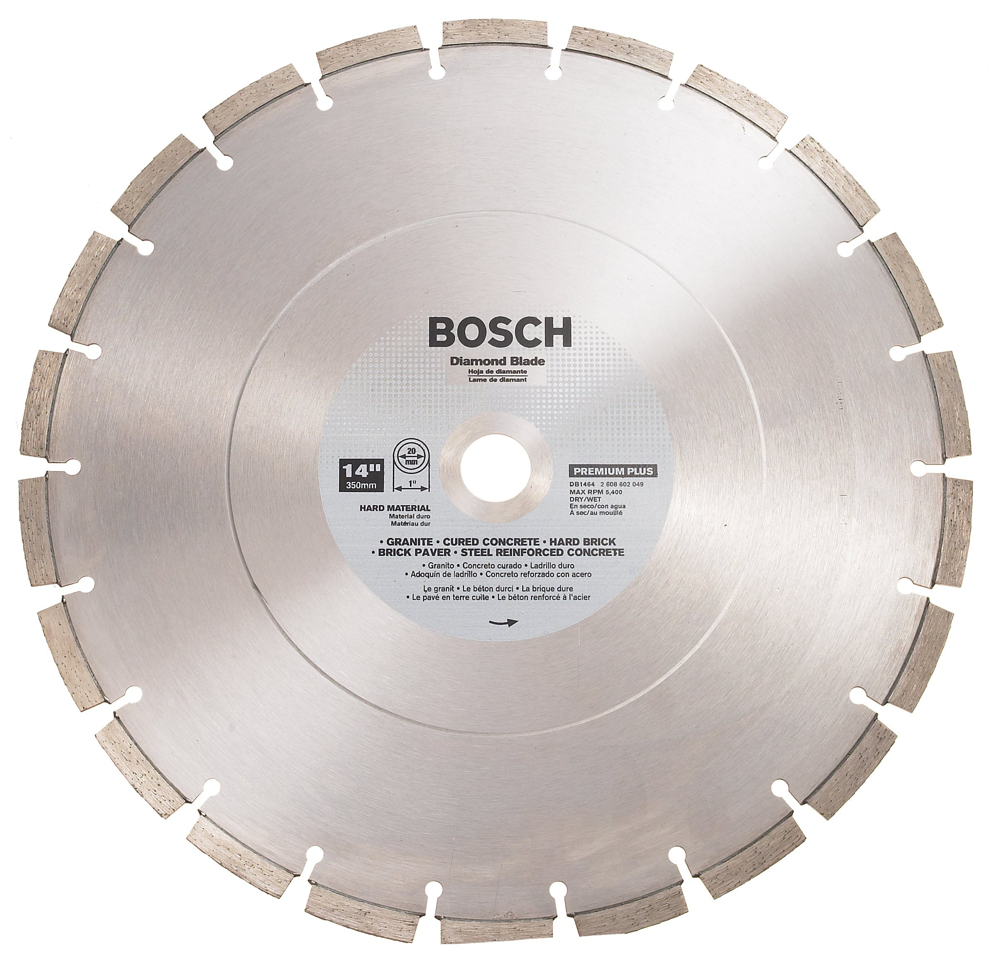 Bosch DB1464 Premium Plus 14-Inch Dry or Wet Cutting Segmented Diamond Saw Blade with 1-Inch Arbor for Reinforced Concrete