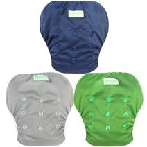 Wegreeco Baby & Toddler Snap One Size Adjustable Reusable Baby Swim Diaper (Navy,Large,3 Pack)