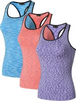jeansian Women's 3 Packs Quick Dry Compression Tank Tops Vests Shirts SMF001