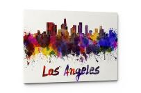 Qutenest Watercolor Los Angeles LA City Skyline Canvas Wall Art Prints, Modern Abstract Cityscape Wall Art Print, Gallery Wrapped Canvas Art, Home Decor, Office Decor - Ready to Hang (Los Angeles)