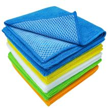 S&T INC. Dish Cleaning Cloths with Poly Scour Side, Microfiber Cleaning Cloths, Assorted, 12 In. x 12 In., 10 Pack