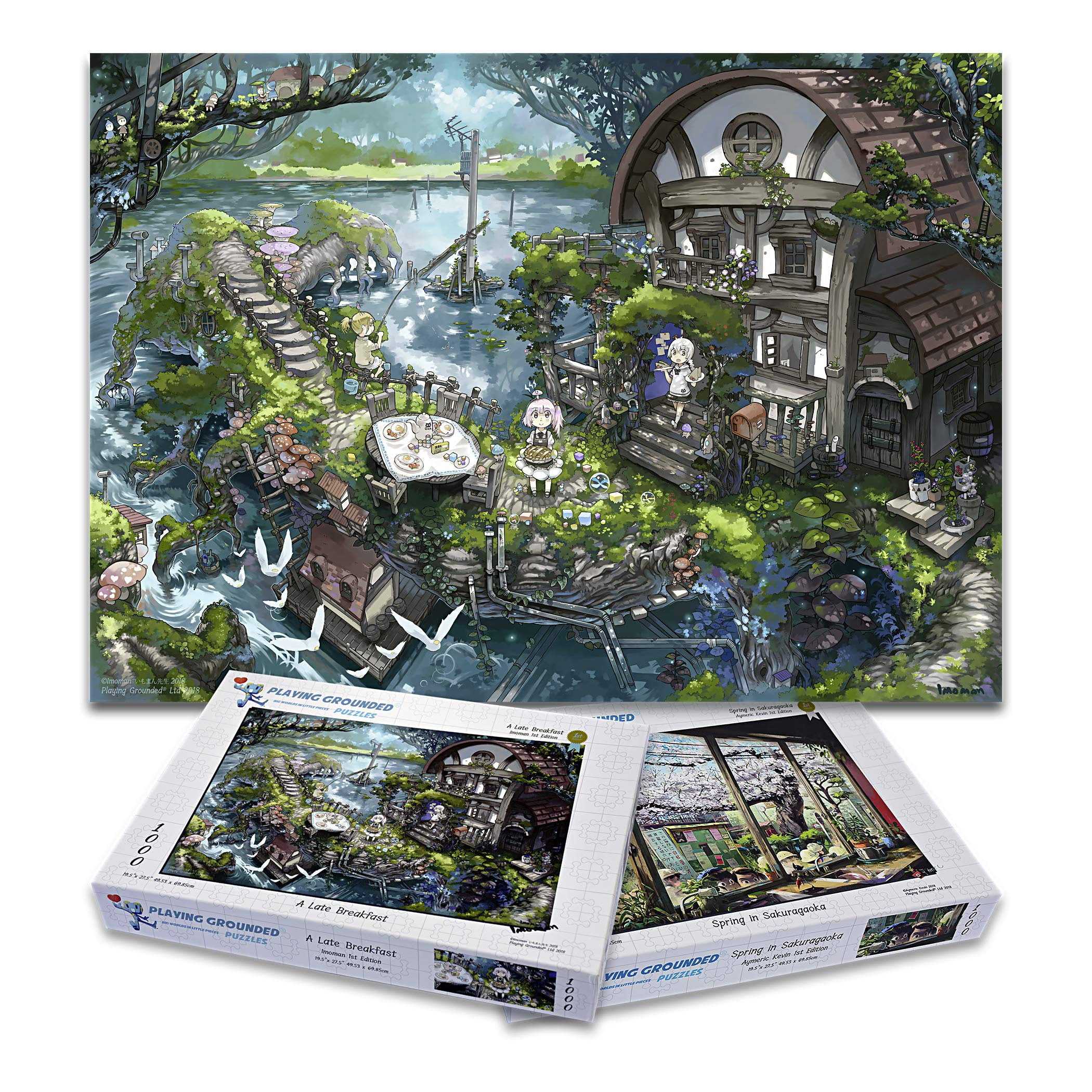 Playing Grounded Bundle Pack Limited Edition Jigsaw Puzzles 1000 Pieces A Late Breakfast and Spring in Sakuragaoka Double Pack Anime Puzzles Fantasy Puzzles, Japanese Jigsaw Puzzle