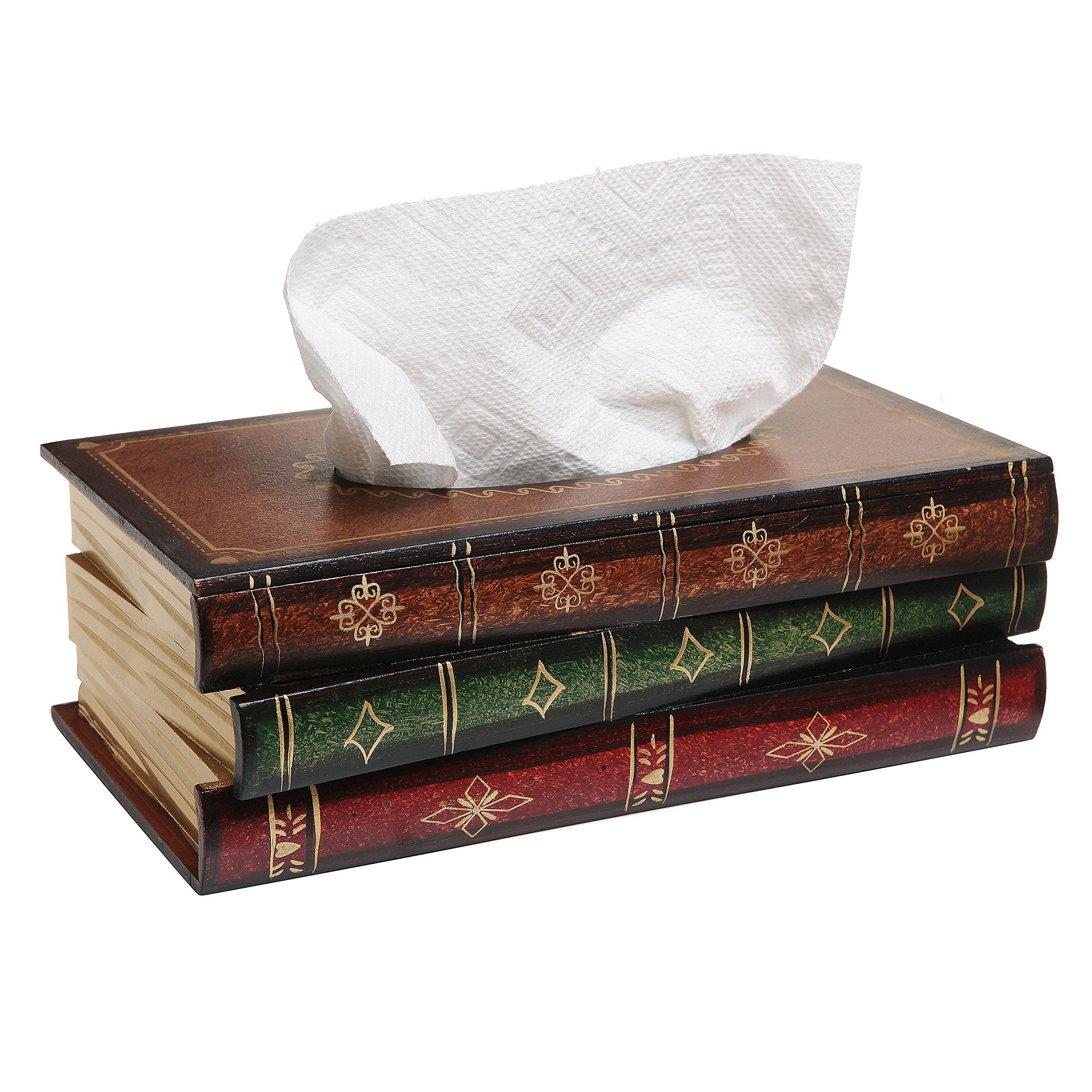 Antique Book Design Wood Bathroom Facial Tissue Dispenser Box Cover/Novelty Napkin Holder - MyGift