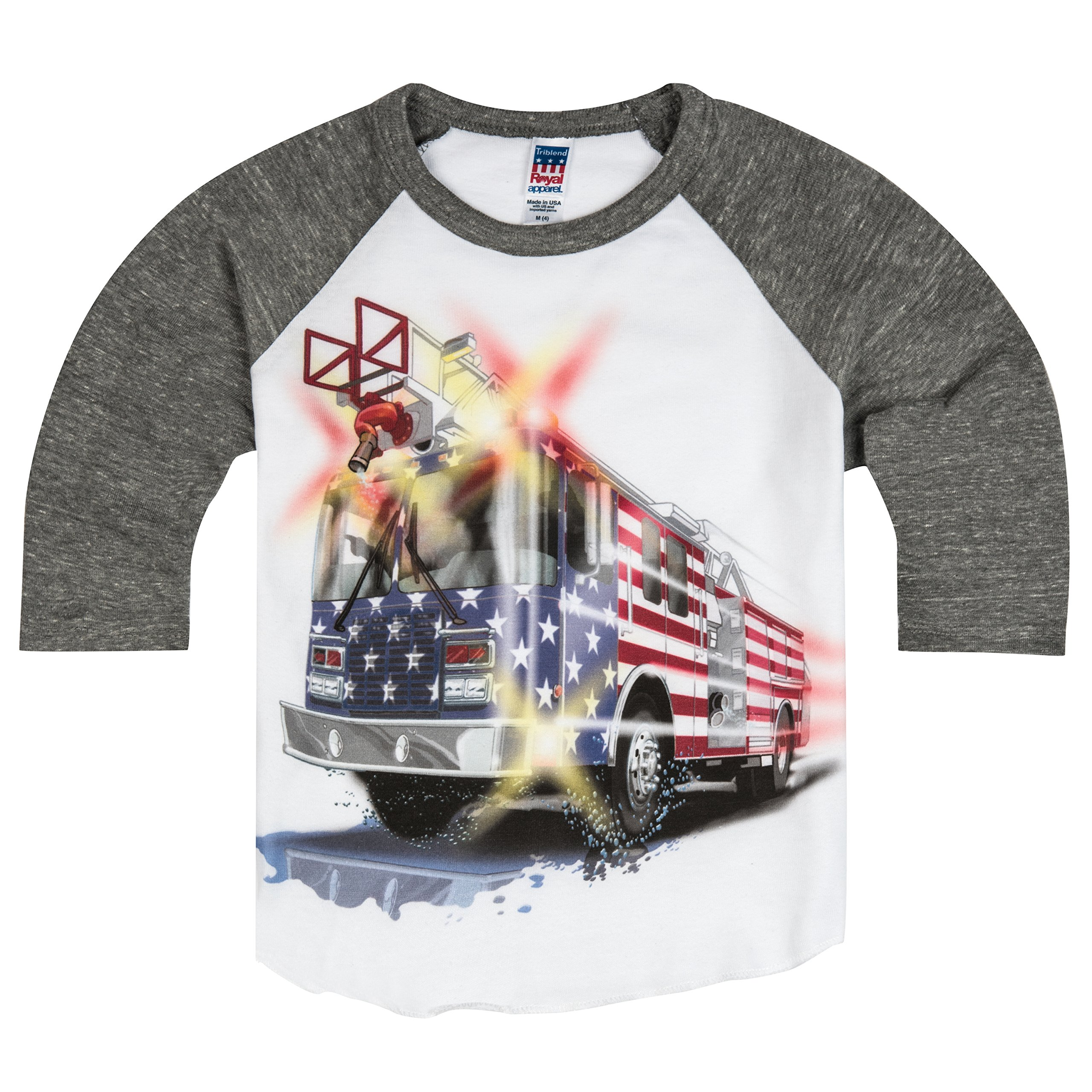 Shirts That Go Little Boys' Big USA Flag Fire Truck Raglan T-Shirt 8 Grey Sleeves