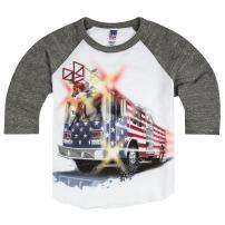 Shirts That Go Little Boys' Big USA Flag Fire Truck Raglan T-Shirt
