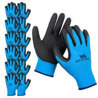 ACKTRA Coated Nylon Safety WORK GLOVES 12 Pairs, Knit Wrist Cuff, Multipurpose, for Men & Women, WG008 Blue Polyester, Black Latex, Small