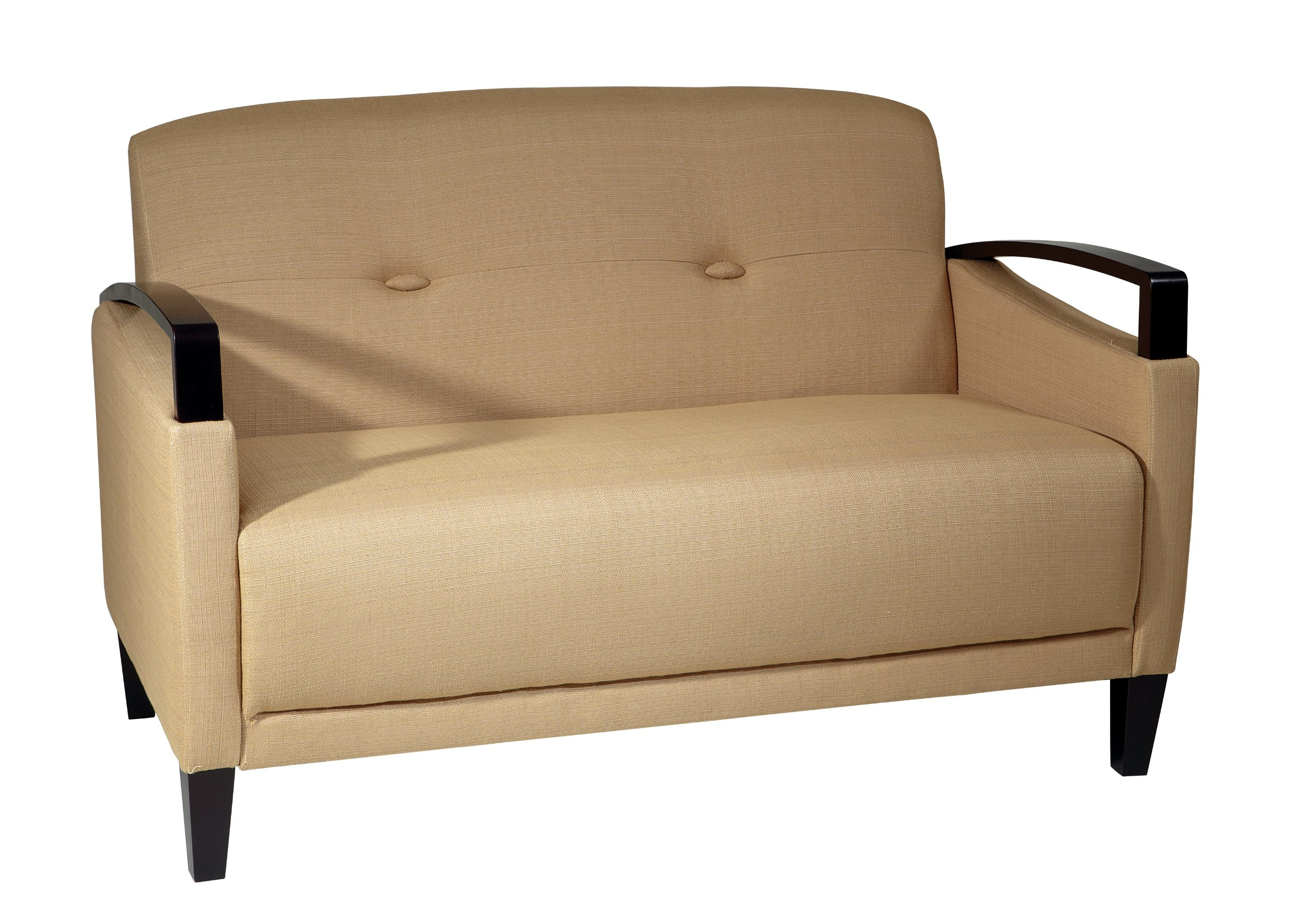Avenue Six AVE SIX Main Street Loveseat with Interlace Weave Fabric and Espresso Finish Wood Accents, Woven Wheat