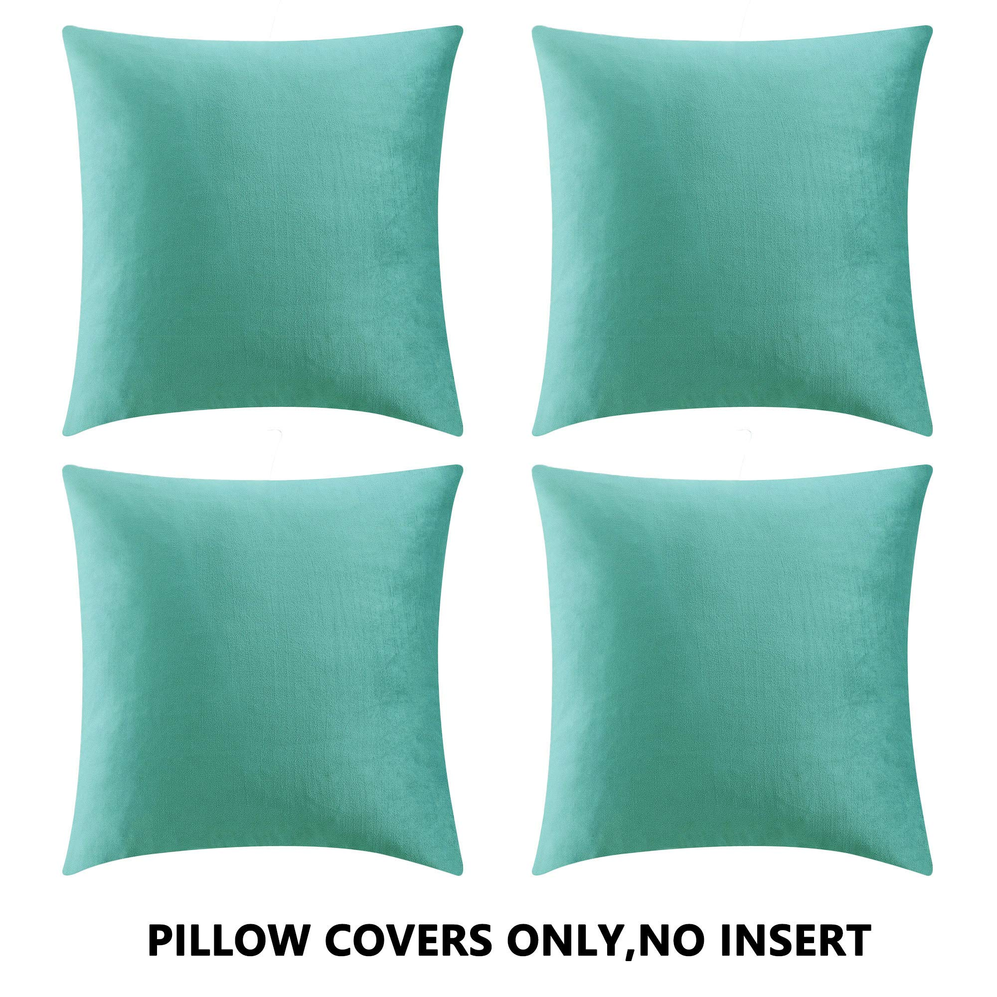 COMFORTLAND Throw Pillow Cases 20x20 Teal Green: 4 Pack Cozy Soft Velvet Square New Year/Christmas Decorative Pillow Covers for Farmhouse Sofa Couch Bed Chair Home Decor Decorations