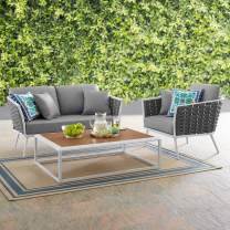 Modway Stance 3-Piece Outdoor Patio Woven Rope Aluminum Loveseat, Armchair, and Coffee Table Furniture Set in White Gray
