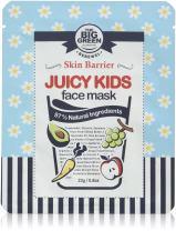 BIGGREEN Natural Juicy Kids Face Mask Sheet - Big Green EWG VERIFIED, Soothing, Healing-Moisturizing, Calming, Ecocert Certified Squalane, Vitamins & Mineral 5 Sheets Face Mask Set