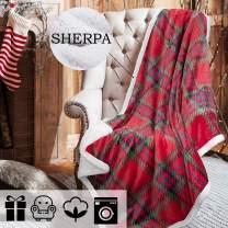 "Tirrinia Buffalo Plaid Christmas Blankets and Throws, Scotland, Soft Warm Cozy, Checkered Blanket Winter Cabin Throw, 50"" x 60"" Red & Green"