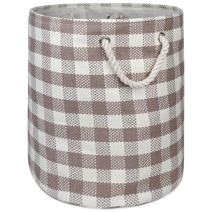 DII Checkers Woven Paper Collapsible Laundry Hamper and Storage Bin, 20x15x15, Large Round, Stone