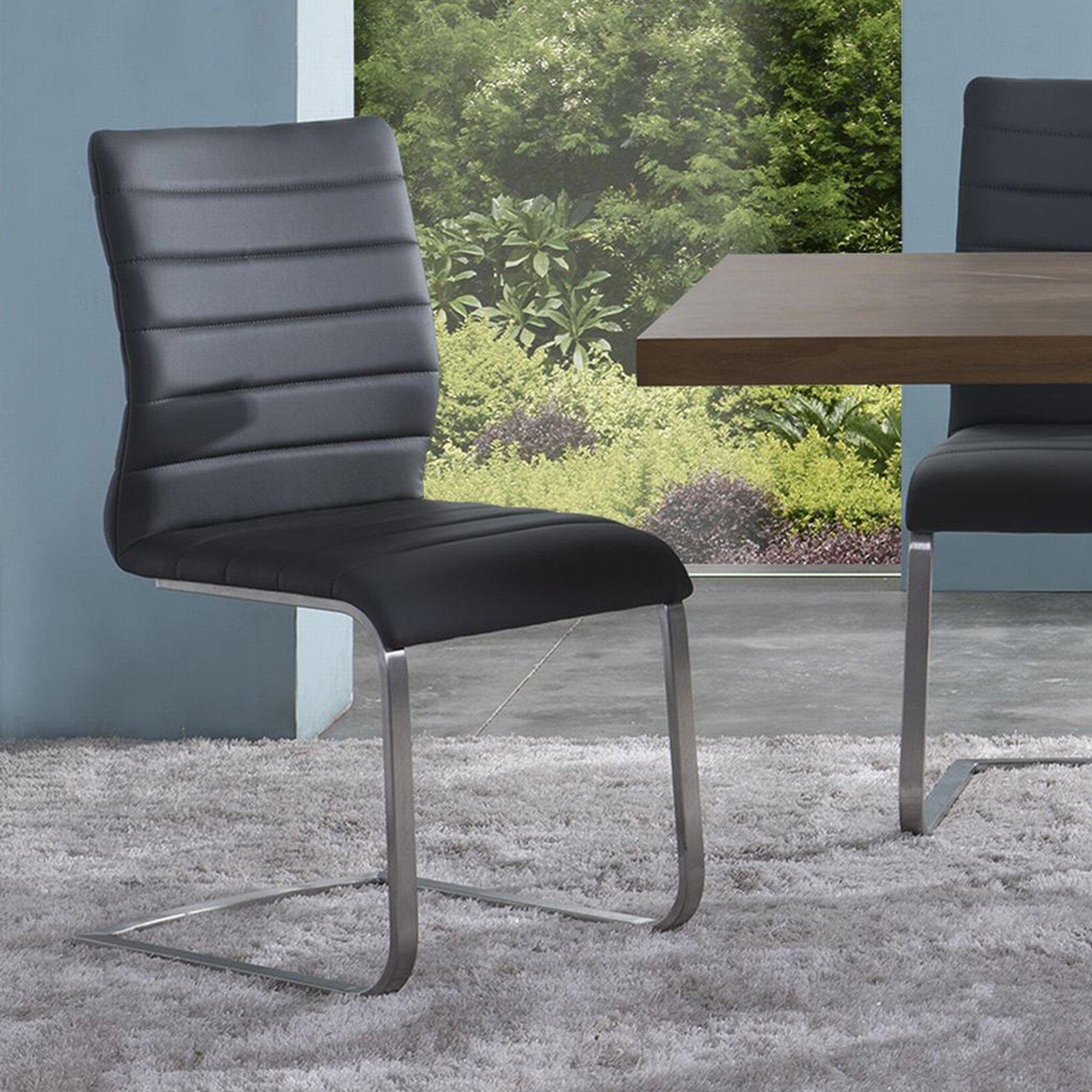 "Armen Living Fusion Stainless Steel Contemporary Side Chair (Set of 2), Gray upholstered, 37"" x 18"" x 22"""