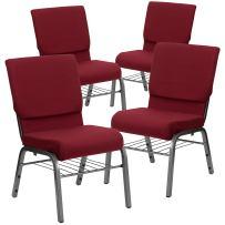 Flash Furniture 4 Pk. HERCULES Series 18.5''W Church Chair in Burgundy Fabric with Book Rack - Silver Vein Frame