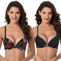Curve Muse Women's Plus Size Perfect Shape Add 1 Cup Push Up Underwire Bras