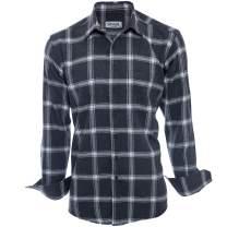SUVARI Mens Dress Shirt Long Sleeve Regular Fit Casual Button-Down Shirt for Men