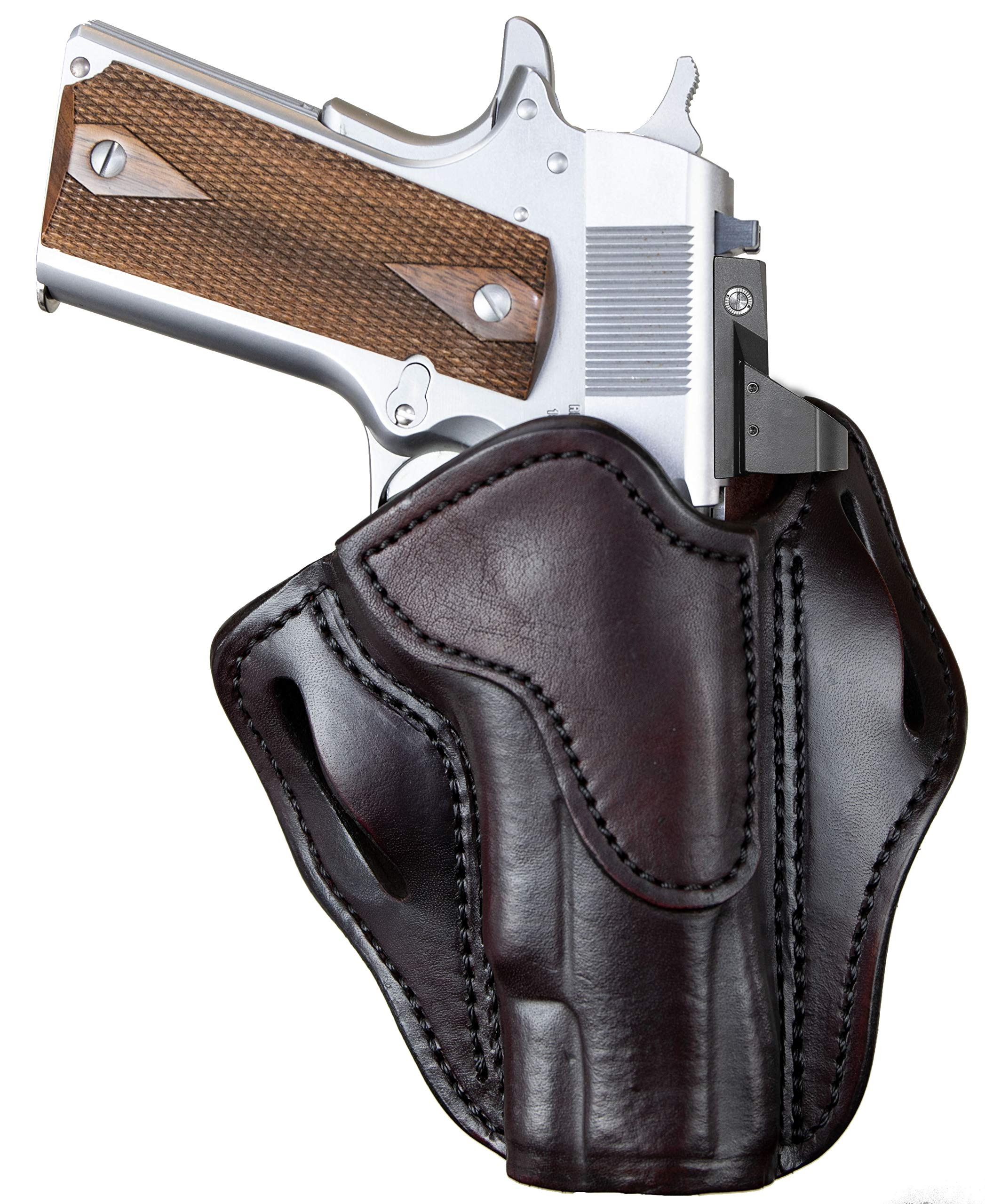 "1791 GUNLEATHER 1911 Optic Ready Holster - OWB CCW Holster - Right Handed Leather Gun Holster for Belts - Fits 1911 Models with 4"" and 5"" Barrels"