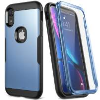 YOUMAKER Slim Fit Case for iPhone XR, Rugged Shockproof Bumper with Built-in Screen Protector Front Cover Full-Body Case for All New iPhone XR 6.1 Inch (2018) - Blue