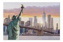 New York City, NY - Statue Liberty & Skyline 9002478 (Premium 1000 Piece Jigsaw Puzzle for Adults, 20x30, Made in USA!)