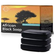 O Naturals African Black Soap Bar, Luxurious Texture Triple Milled Bar Soap Moisturizing Shea Butter Natural Vegan Hand Body & Face Soap, Organic Ingredients Acne Problematic Skin. Men, Women 3 Pc 4oz
