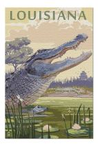 Louisiana - Alligator and Baby (Premium 1000 Piece Jigsaw Puzzle for Adults, 20x30, Made in USA!)
