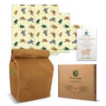 PlanetCare Premium WAXED CANVAS LUNCH BAG & BEESWAX WRAPS SeaTurtle Edition: The ultimate ECO FRIENDLY LUNCH SET! 100% Biodegradable, and plastic free: REUSABLE, SUSTAINABLE, WASHABLE & NATURAL